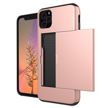 Shockproof Case For iPhone 11 Pro 11 Pro MAX 2019 Slide Armor Wallet Card Slots Cover For iPhone XS MAX XR 8 7 6 Plus Phone Case pro slide