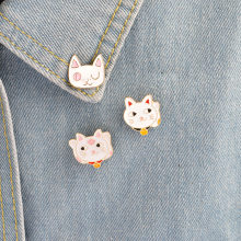 Boutique Lovely Money cat Bone Metal Enamel Pin Brooch wholesale Ladies Lover Necklace Backpack Needle Animal Badge Jewelry(China)