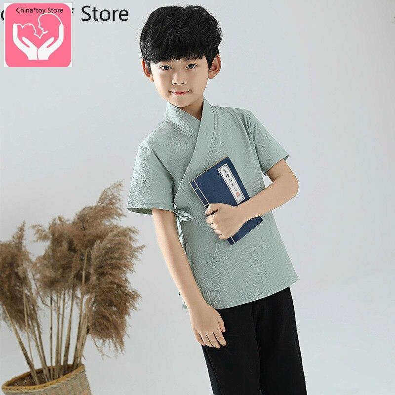 Одежда для мальчиков в китайском стиле Hanfu; Летняя одежда для маленьких детей с короткими рукавами в стиле ретро; Улучшенная Китайская одежд