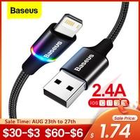 Baseus-Cable USB LED para móvil, Cable de datos de carga rápida para iPhone 12 11 Pro Xs Max X Xr 8 7 6 6S