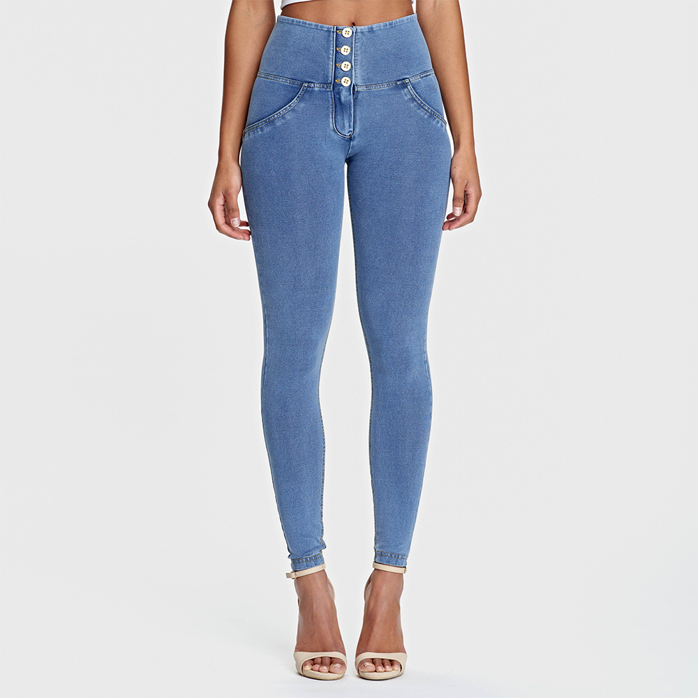 Melody Light Blue Color Butt Lifting Jeans For Women Yellow Stitching Push Up Denim Jeans With 4 Buttons High Waist Jeggings