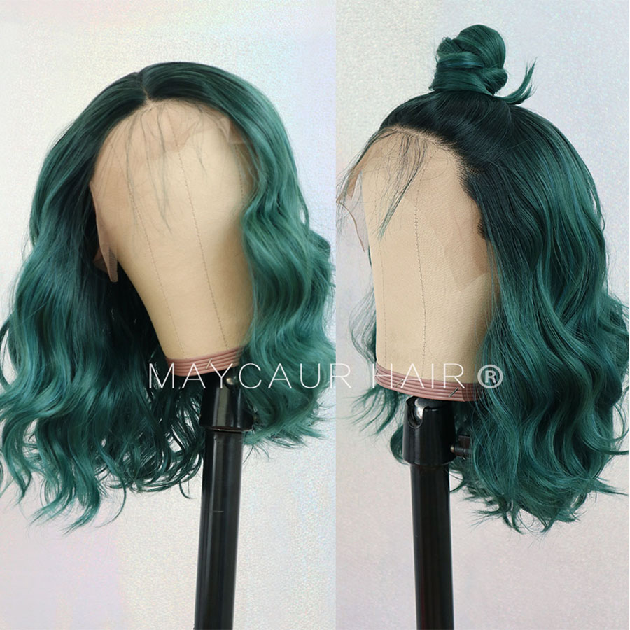 Image 3 - 2 Tones Black Ombre Green Synthetic Lace Front Wigs Heat Resistant Fiber Hair Dark Roots Short Body Wave Hair For Women-in Synthetic Lace Wigs from Hair Extensions & Wigs