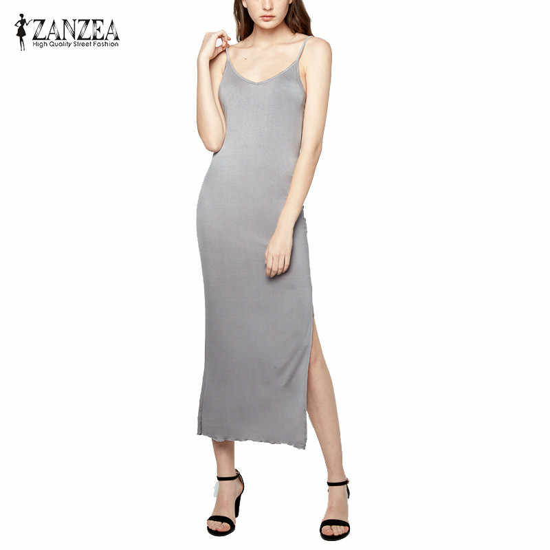 ZANZEA Merk Bodycon Slim Vestidos Vrouwen 2019 Sexy V-hals Mouwloos Backless Maxi Lange Party Jurken Plus Size Bohemian Gewaad