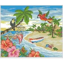 Летние пляжные узоры Счетный крест 11ct 14ct 18ct сделай сам