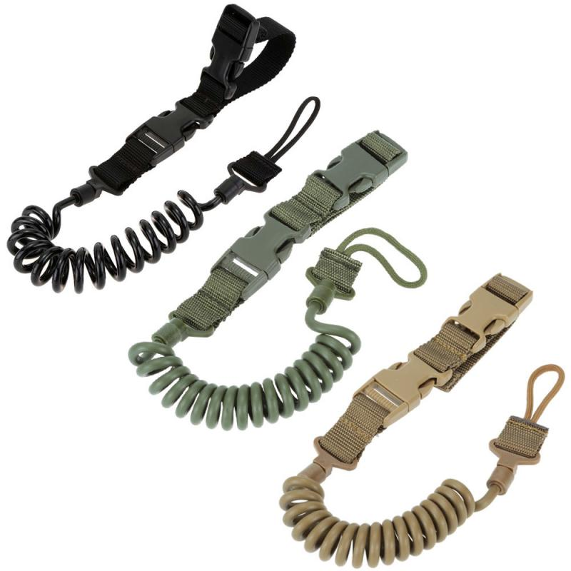 PU MateriaTactical Pistol Lanyard Sling Elastic Multi-Functional Lanyard Strap Safety Belt Rope Hunting Accessories 3 Colours