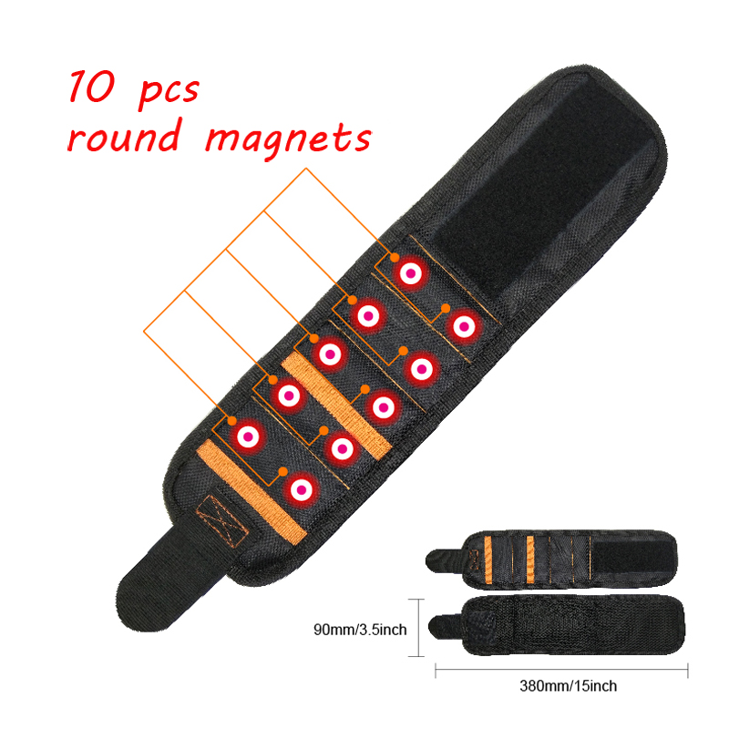 Geoeon Multi-function Magnetic 5pcs Portable Tool Bag  Electrician Wrist Tool For Holding Screws, Nails, Drill Bits D35