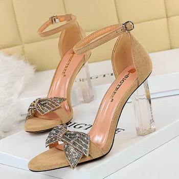 Rhinestone Open Toe  Block Heel Sandals 5