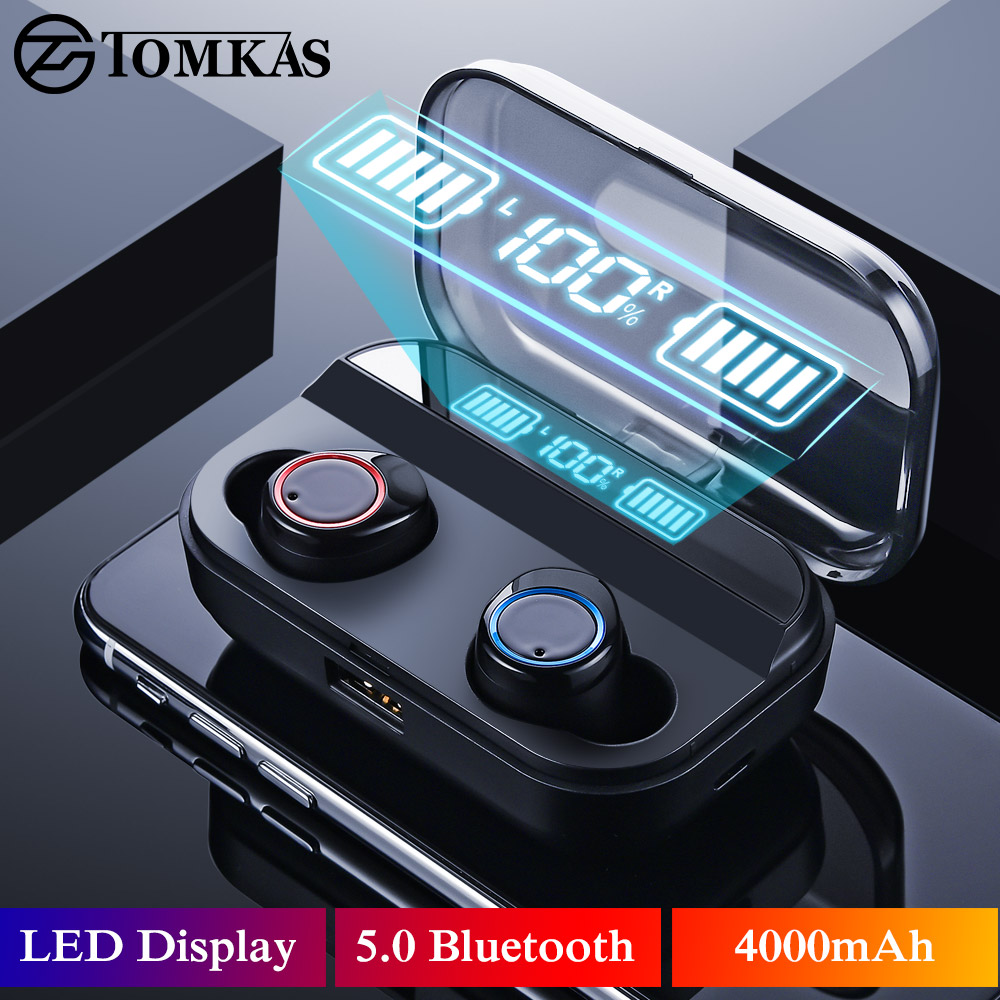 Casques d'écoute sans fil TWS V5.0 Bluetooth écouteurs LED affichage 4000mAh batterie externe contrôle tactile Sport écouteurs avec double micro