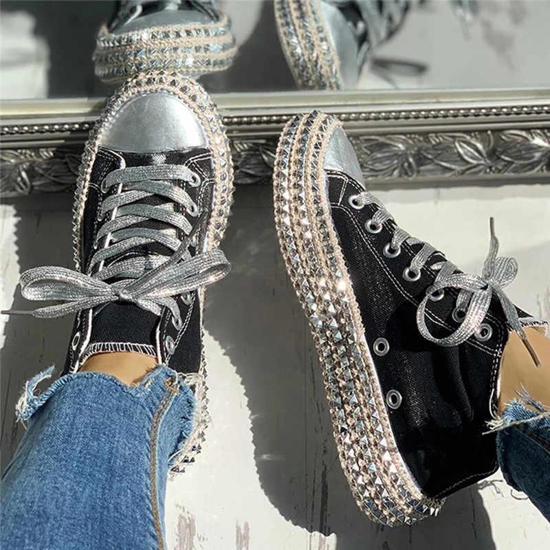 Sapatilhas femininas leopardo rebites sapatos de lona feminino lazer rendas-up baixo alto superior tênis cesta femme tamanho grande sapatos femininos