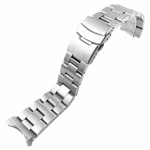 Image 2 - Pulseira de aço inoxidável arco borda cinta boca pulseira metal banda 20 22mm relógio para seiko ect