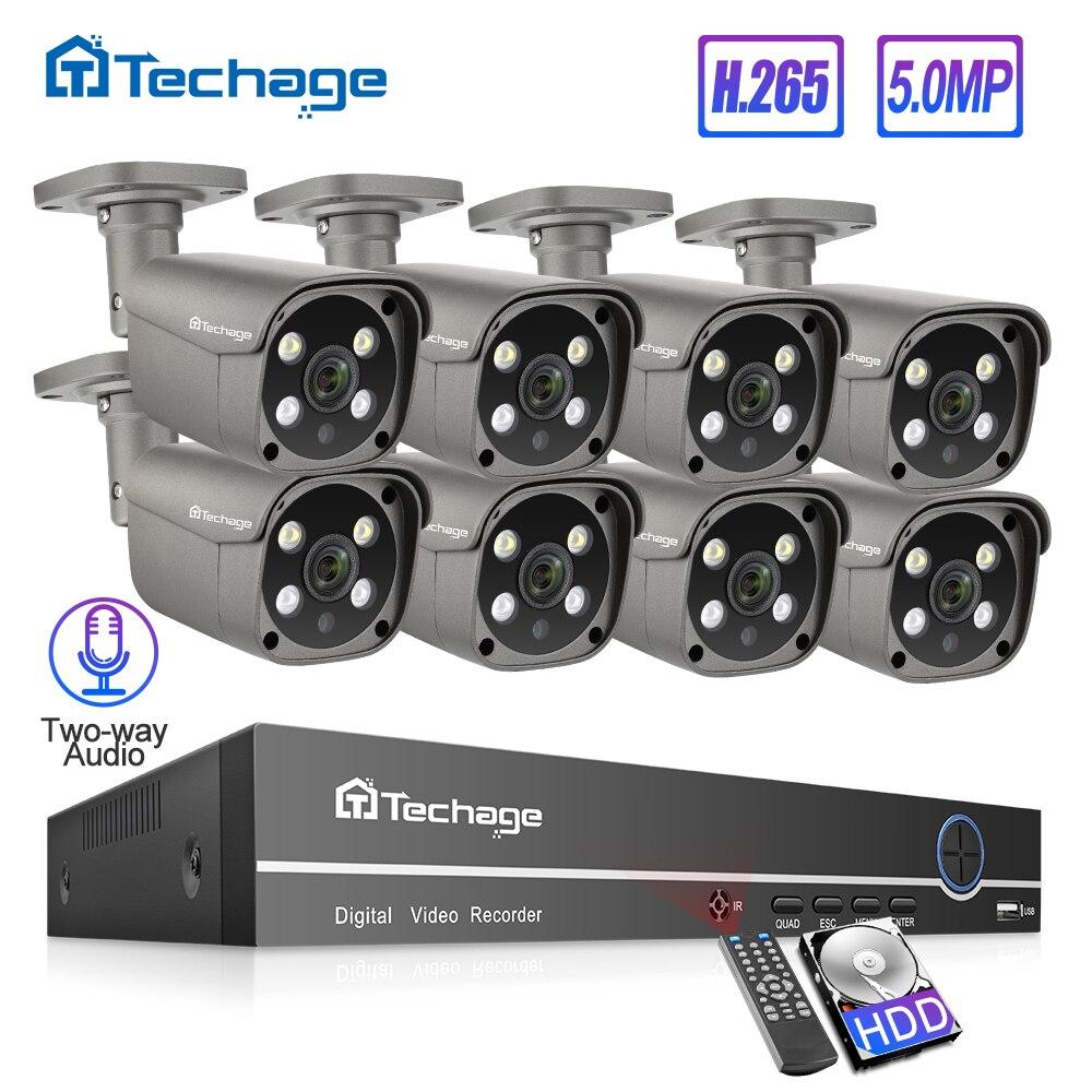 Techage H.265 8CH 5MP HD POE NVR Kit CCTV Sicherheit System Zwei Weg Audio AI IP Kamera Outdoor P2P Video überwachung Set 3TB HDD
