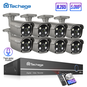 Techage H.265 8CH 5MP HD POE NVR Kit CCTV Security System Two Way Audio AI IP Camera Outdoor P2P Video Surveillance Set 3TB HDD(China)