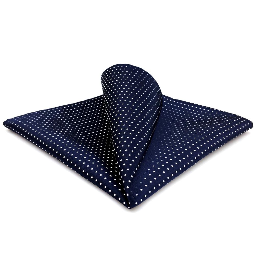 MH6 Pocket Square Polka Dots Navy Dark Blue White Mens Handkerchief Silk