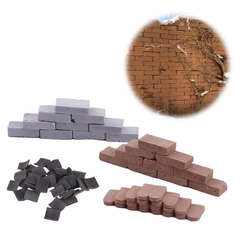 100/80/70 Pc 1/16 1/35 Miniature Brick Tiles Model DIY Sand Table Manual Wall