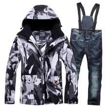 Новые мужские и женские ветроустойчивый Влагоустойчивый термический мужской зимний комплект со штанами лыжный и альпийский лыжный костюм мужские куртки