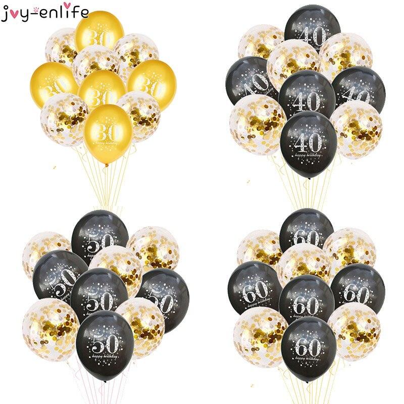 JOY-ENLIFE 10 pçs balões de confetes infláveis 12 polegada látex balões 30 40 50 60 anos festa aniversário adulto folha balões de hélio