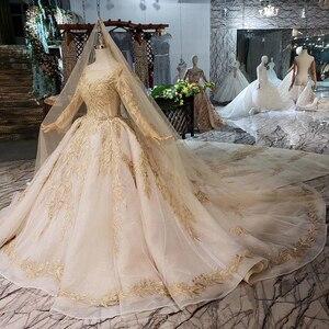 Image 3 - LS11555 di Lusso Abito Da Sposa con velo da sposa backless handmade champagne doro abito da sposa in pizzo abito da sposa con il treno lungo