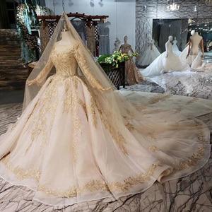 Image 3 - LS11555 فستان زفاف فاخر مع طرحة زفاف بدون ظهر اليدوية الشمبانيا الذهبي الدانتيل فستان الزفاف ثوب زفاف مع قطار طويل