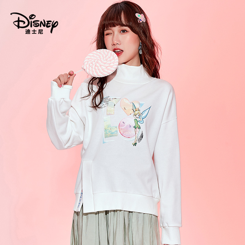 Disney base temperament commuter loose cotton printed round neck thin pullover top clothes pink tops