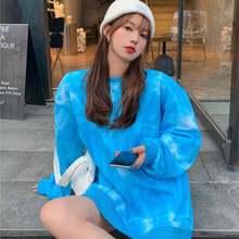 Женская синяя Толстовка модный топ