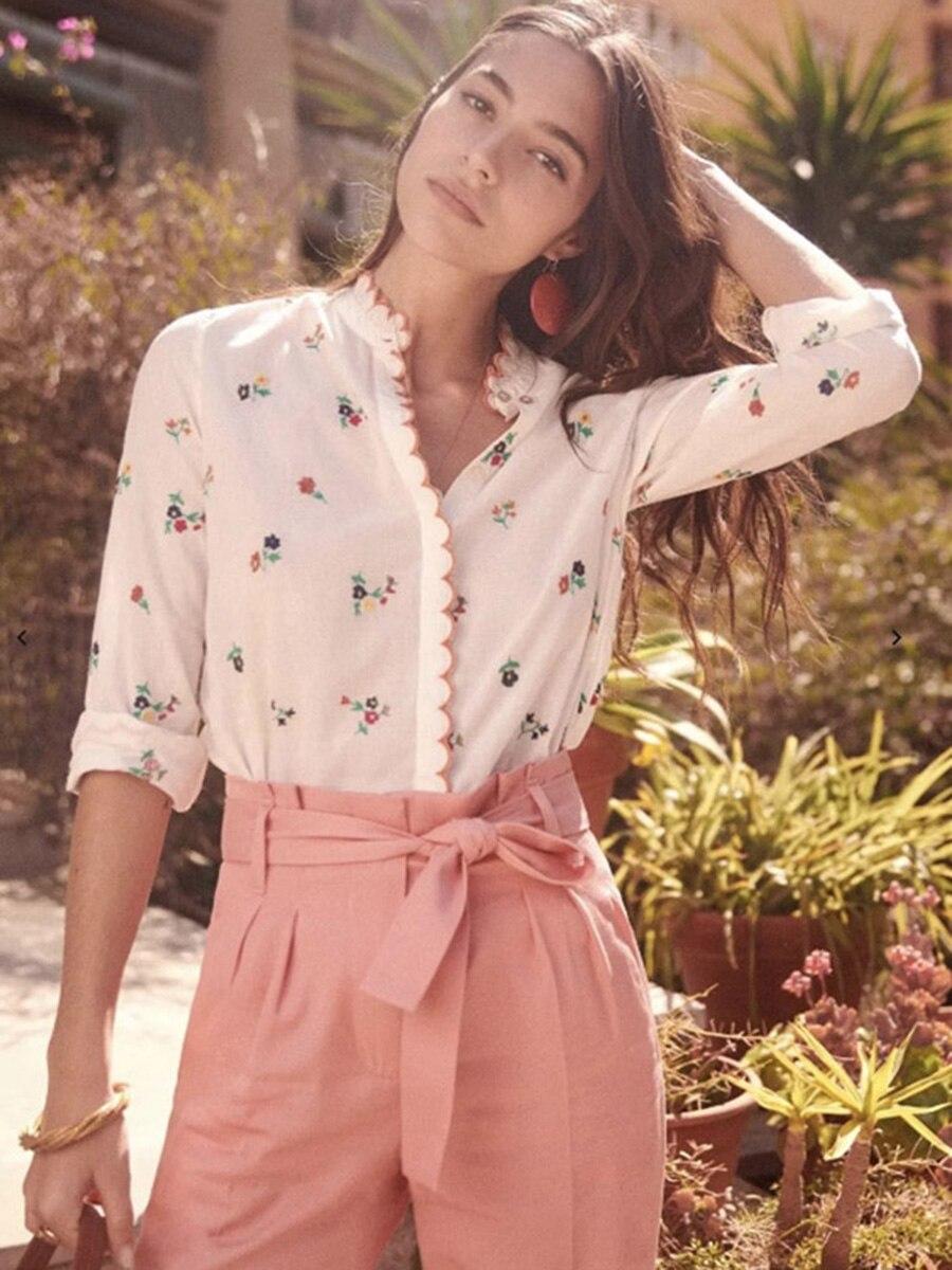 カジュアルなヴィンテージトップス Health 本日の割引 花刺繍白ブラウス秋の女性長袖カラーレース細工シックなルースシャツ 4