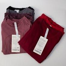 Lulu camisa de yoga dos esportes das mulheres camisa de secagem rápida tripulação pescoço colete de yoga ginásio yoga topos feminino t camisa de fitness esportiva wome