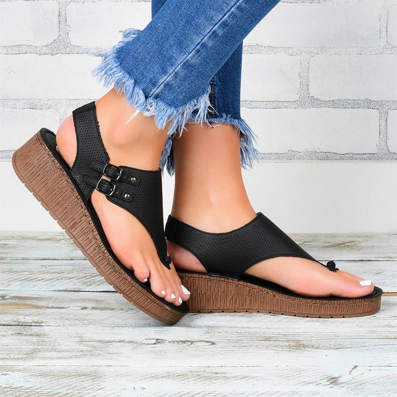 MoneRffi Retro Woman Sandals Women Open-toe Sandals Solid Color Sandals Summer Ladies Shoes Wild Casual Slippers
