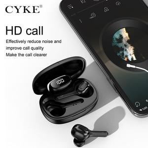 Image 2 - CYKE yeni akıllı kablosuz TWS Bluetooth kulaklık çeviri kulaklık dijital ekran güç şarj depo spor kulaklıklar
