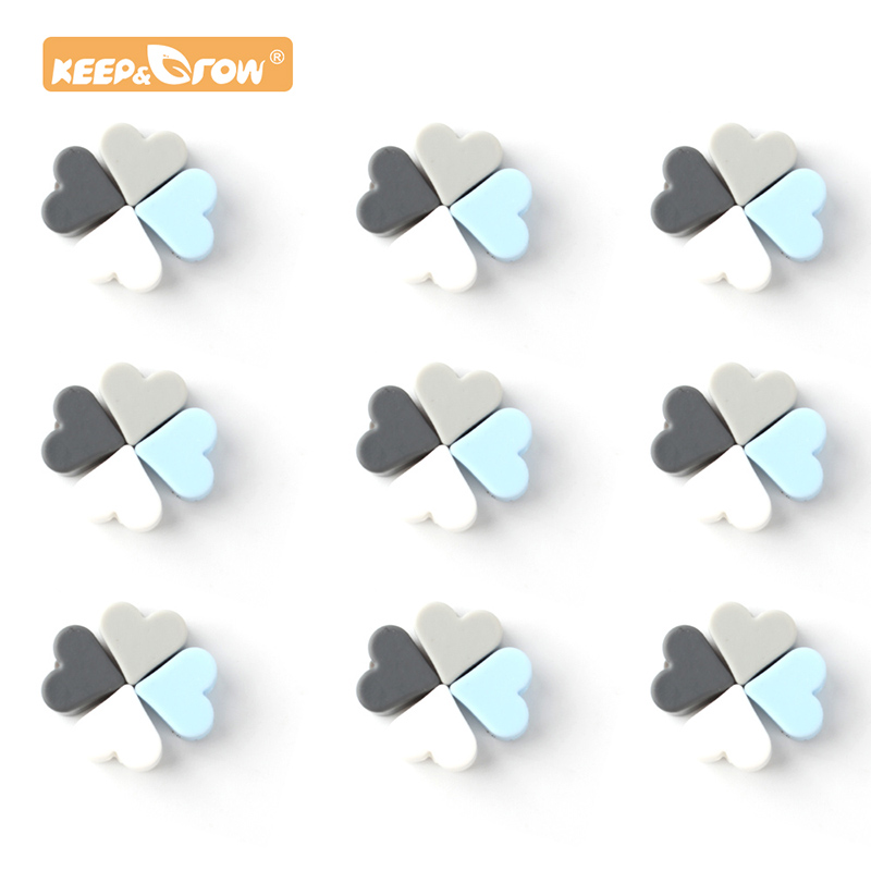 Keep&Grow 14mm 30pcs Heart Silicone Beads Food Grade Silicone Teethers BPA Free Baby Products DIY Chewable Pacifier Accessories
