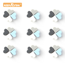 Keep&Grow 14mm 30pcs Heart Silicone beads Food Grade Silicone Teethers BPA Free Baby