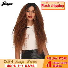 Ebingoo Dark Roots Ombre Brown Synthetic Lace Front Wig Long Afro Kinky Curly Fluffy Heat Resistant Futura Wigs for Women fluffy curly heat resistant synthetic long lace front wig