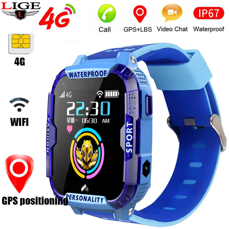 LIGE 2019 Kid smart watches video call Childrens smart watch GPS location tracking Support 2G / 3G / 4G SIM card SOS Smartwatch