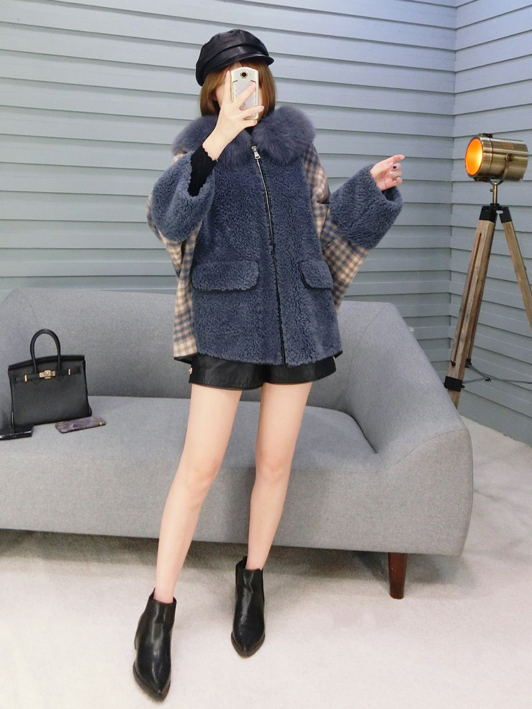 Coat Winter Women Sheep Shearling Real Fur Coat Female Fox Fur Collar 100% Wool Coats Korean Jacket Manteau Femme MY4232 S
