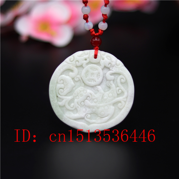 Natural White Jade Carved Cross Lucky Amulet Pendants Necklace
