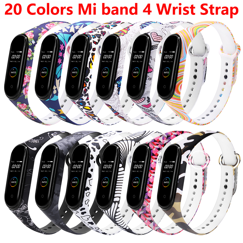 Mi Band 4 Bracelet For Xiaomi Mi Band 4 Strap Silicone Printing Multicolor Flowers Strap Accessories For Xiaomi Mi Band 4 Strap