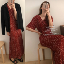 Robe rouge à fleurs en mousseline de soie pour femmes, tempérament rétro, col en V, taille haute, manches courtes, ligne A, longueur cheville, robe d'été coréenne Chic
