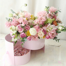 Double Layer Round Flower Paper Boxes with Ribbon Surprise Rose Box Bouquet Arrangement European Style Gift Cardboard Box