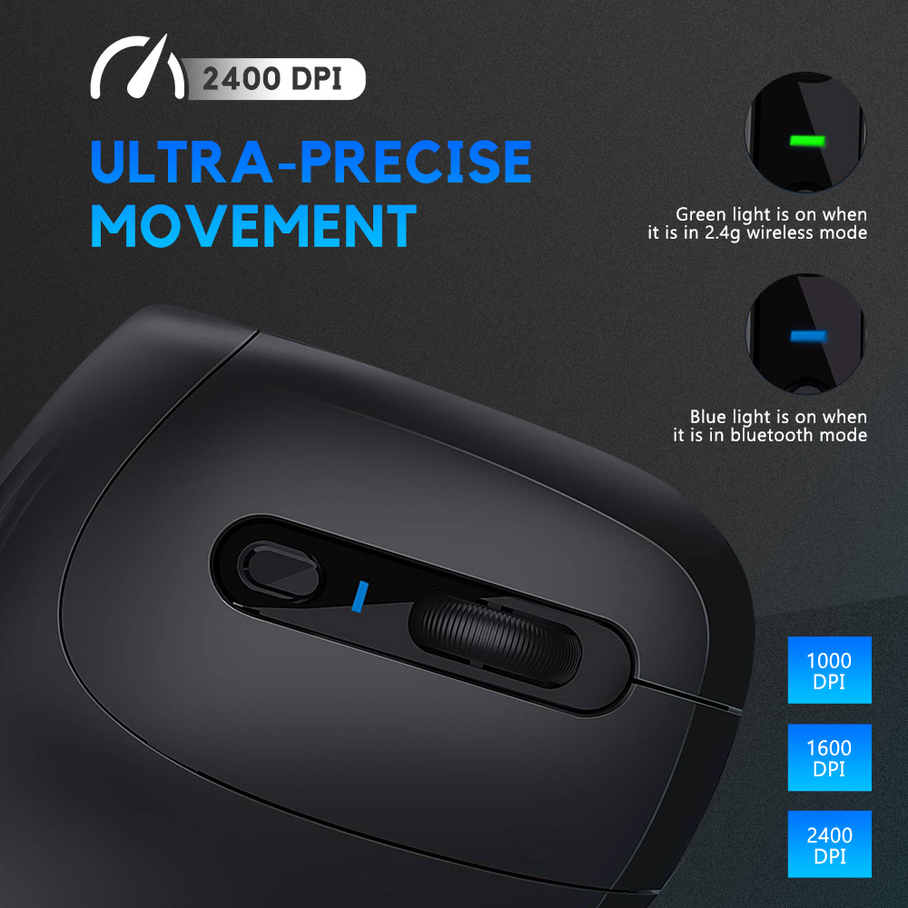 Image 3 - DAREU Magic Ergonomic Vertical Wireless Mouse Bluetooth 4.0+2.4Ghz Dual mode skin Gaming Mice with 3D scroll wheel For ComputerMice   - AliExpress