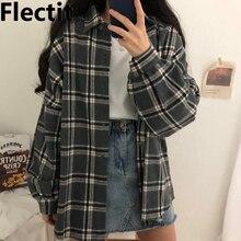 Flectit Flannel Oversized Shirt Long Sleeve Collared Boyfriend Plaid Bl