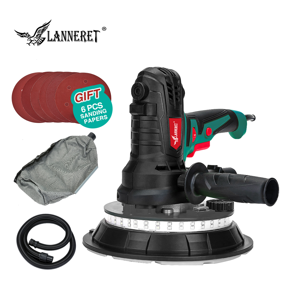 LANNERET Wall Polisher Drywall Sander Handheld Variable Speed Dry Wall Sander LED Strip Light Dust Free  850W / 1280W-in Sanders from Tools on
