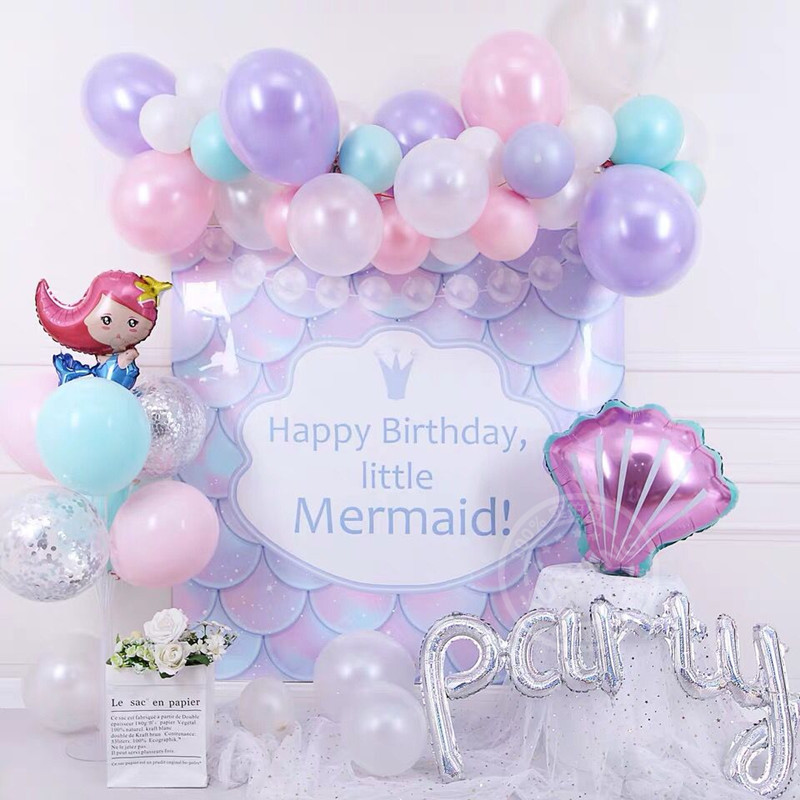50 Pcs Mermaid Birthday Party Decorations For Girls Balloons Mermaid Princess Poster,Aluminum Foil Balloons,Sea Theme For Baby Shower Children Party Supplies