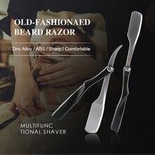 Mężczyźni maszynka do golenia narzędzia fryzjerskie stopu cynku składany ręczny nóż do golenia twarzy broda naprawy nóż depilator maszynka do golenia