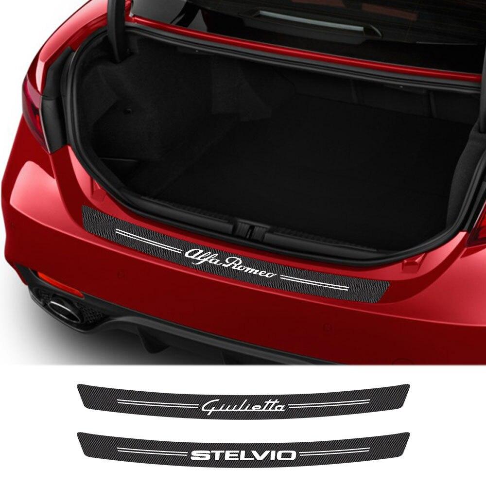 Pegatinas de coche para Alfa Romeo Giulia 147 156 159 Mito Stelvio Q4 Sportiva Giulietta, accesorios de coche, calcomanía de tronco de fibra de carbono