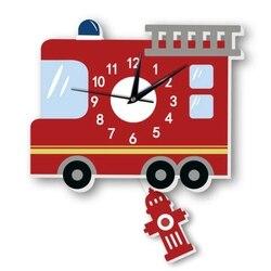 Akcesoria do dekoracji domu nowoczesne wóz strażacki wahadło cichy wahadło ciekawe zegar ścienny dla dzieci pokój dekoracji prezenty