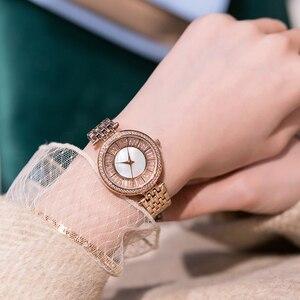 Image 3 - Relojes dama reloj de lujo de acero inoxidable, reloj de pulsera de cuarzo para mujer