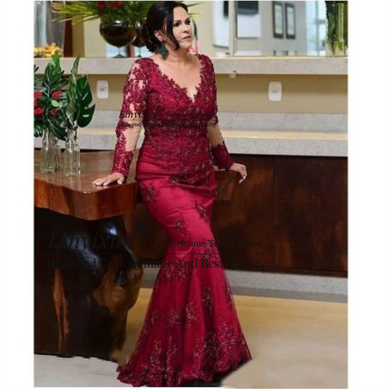 Long Sleeves Mermaid Mother Of The Bride Dresses Plus Size Illusion Sheer Vintage Lace Beaded Wedding Party Formal Gowns 2020