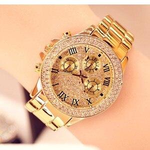 Image 5 - 2019 nova mulher strass relógios senhora vestido relógio feminino diamante marca de luxo pulseira relógio de pulso senhoras cristal quartzo relógios