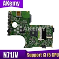 N71JA N71JV материнская плата для ноутбука поддержка i3 i5 процессор для ASUS N71JA N71JV N71J материнская плата 100% ТЕСТ ОК 1 ГБ VGA карта
