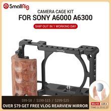 SmallRig dla sony a6000 akcesoria dla sony A6300 / A6000 / ILCE 6000 / ILCE 6300 klatka W/drewniany uchwyt podwójny aparat Rig   2082