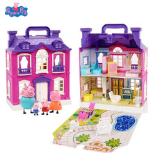 Peppa Pig Little Girl George Toy House Doll Set Moving Children Cartoon Family Friends Party Action